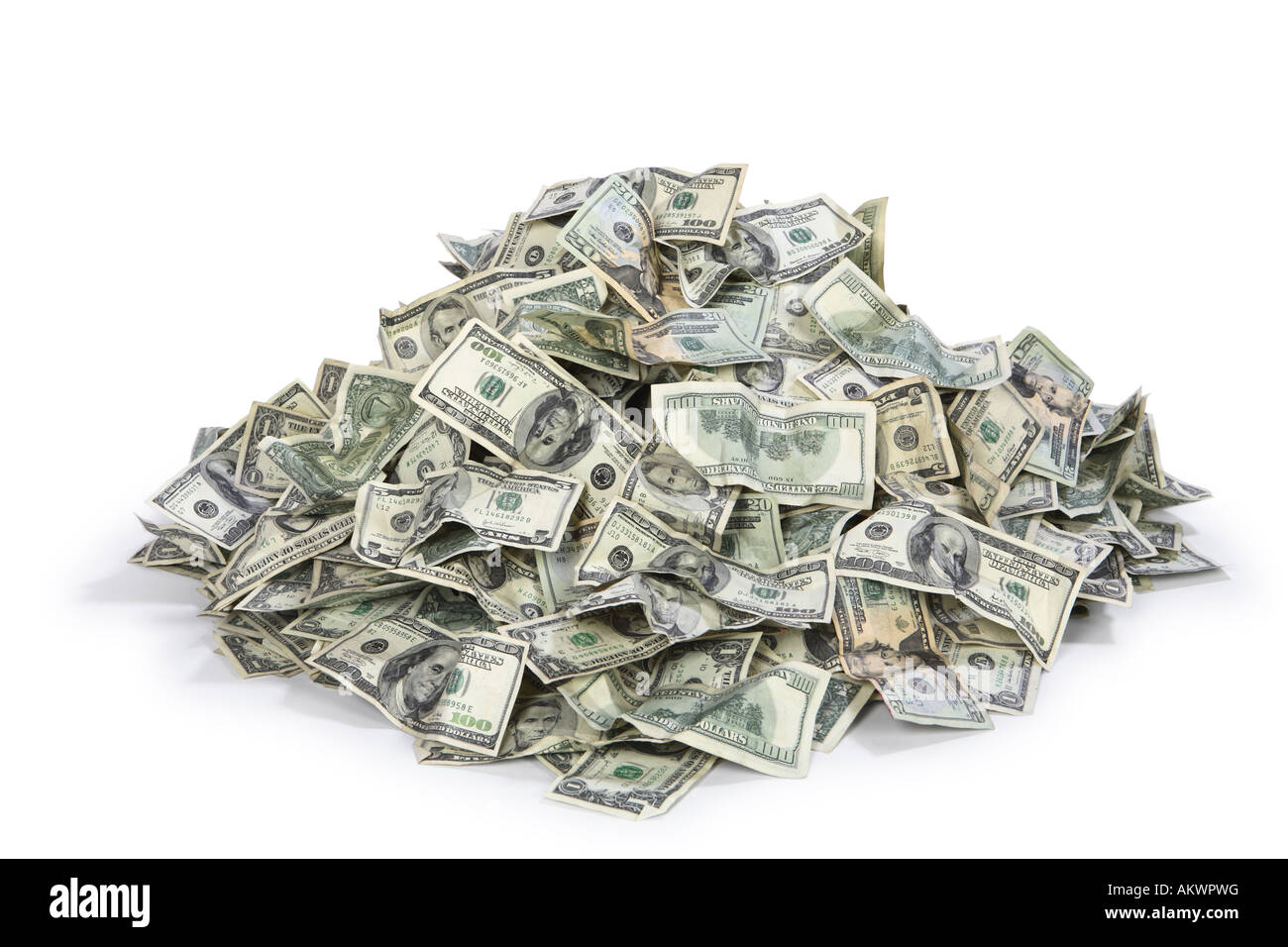 Pile of US money cut out on white background Stock Photo