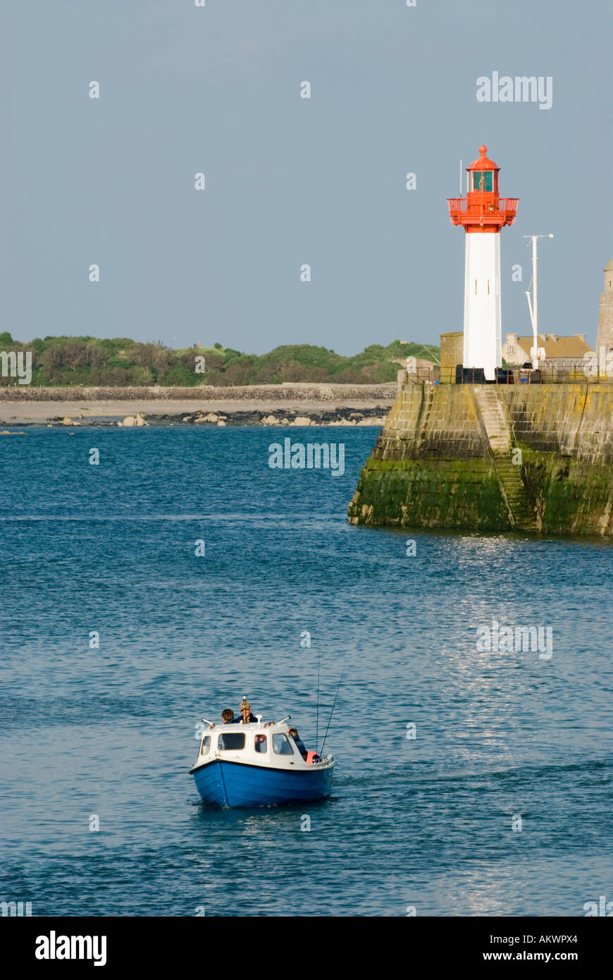 France, Normandy, St Vaast La Hougue, Harbor with lighthouse Stock Photo