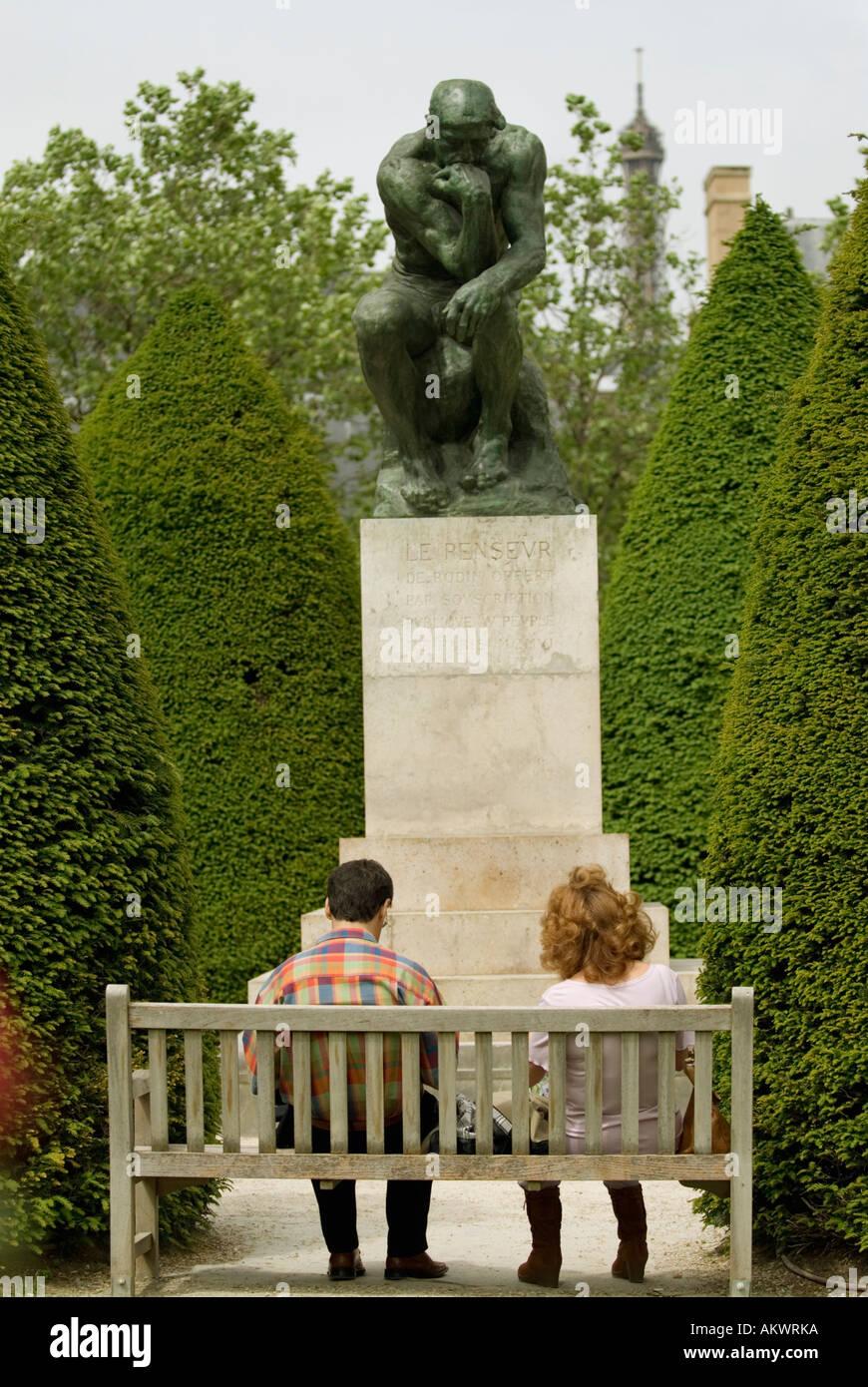 France, Paris, Rodin Museum, The Thinker - Stock Image