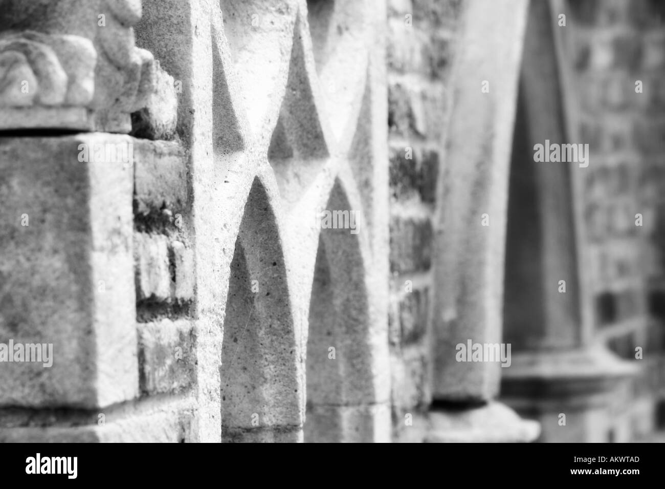monochrome horizontal stone arches abstract - Stock Image