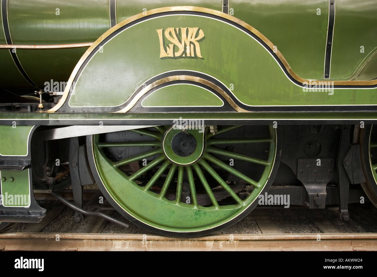 Detail of wheel and cover on an L & SWR Adams 563 locomotive - Stock Image