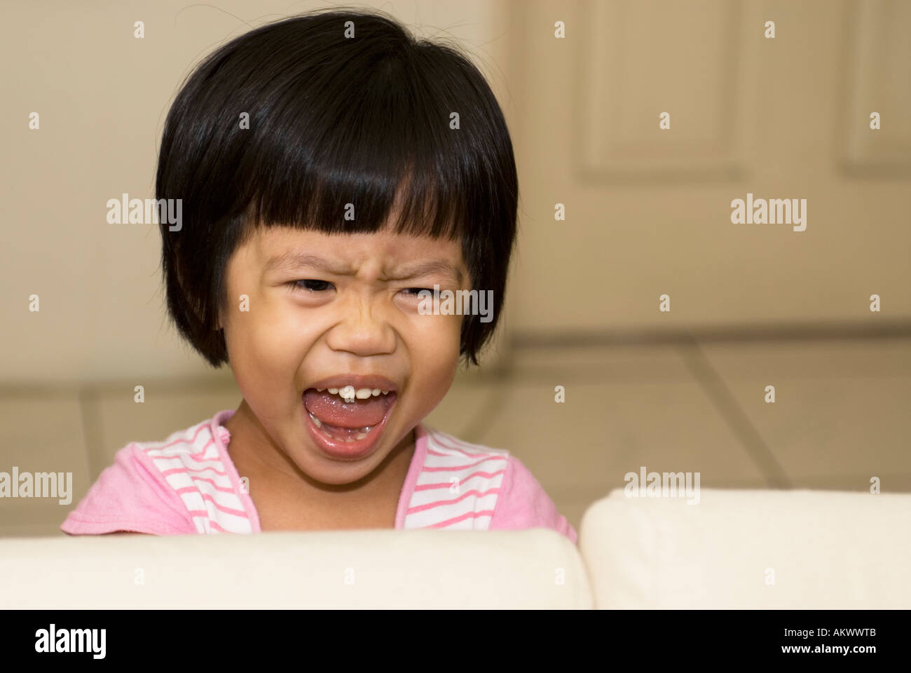Portrait Of A Young Asian Girl Screaming Taiwan China - Stock Image