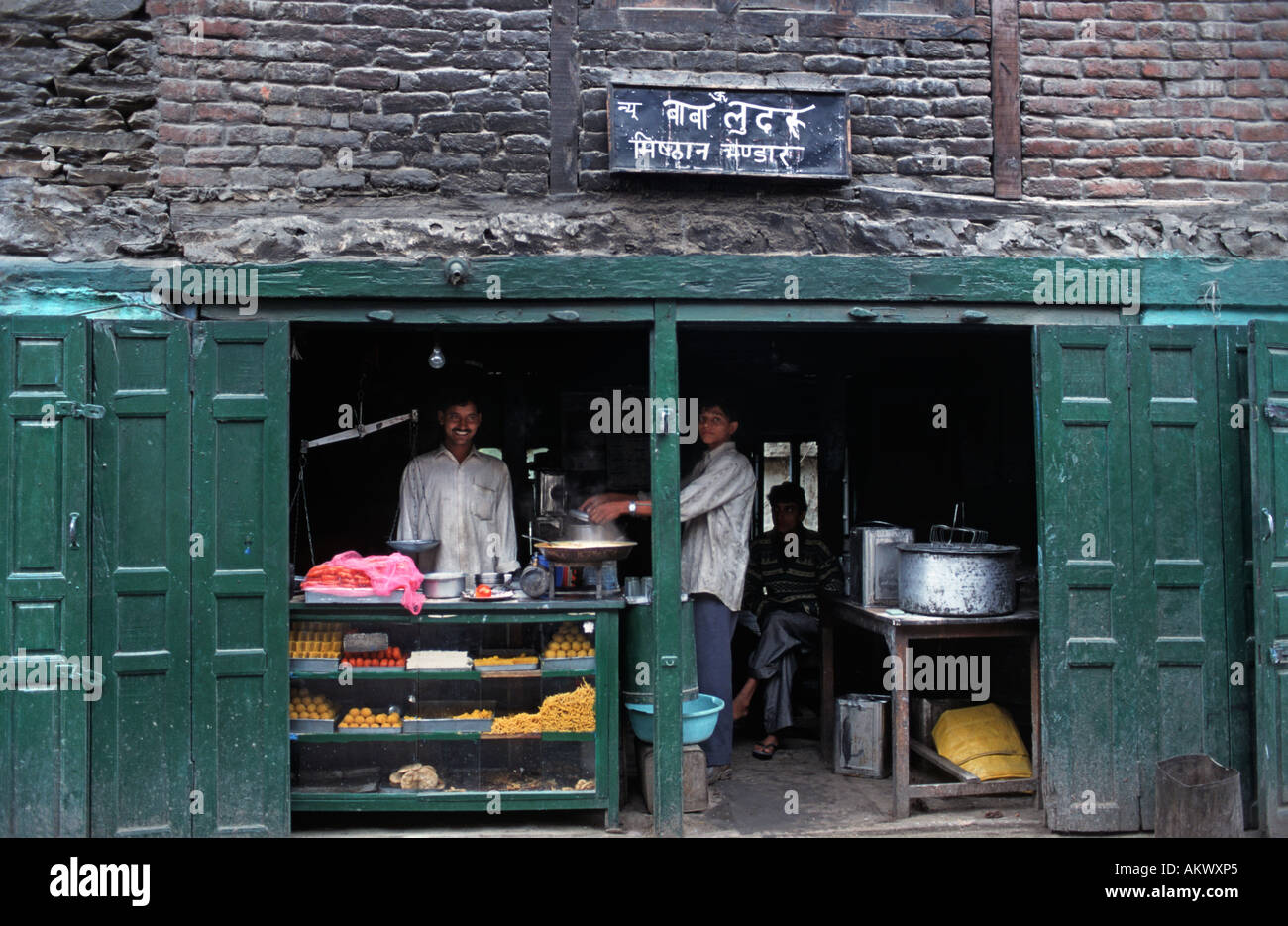 Indian confectionary store Keylong Himachal Pradesh India - Stock Image