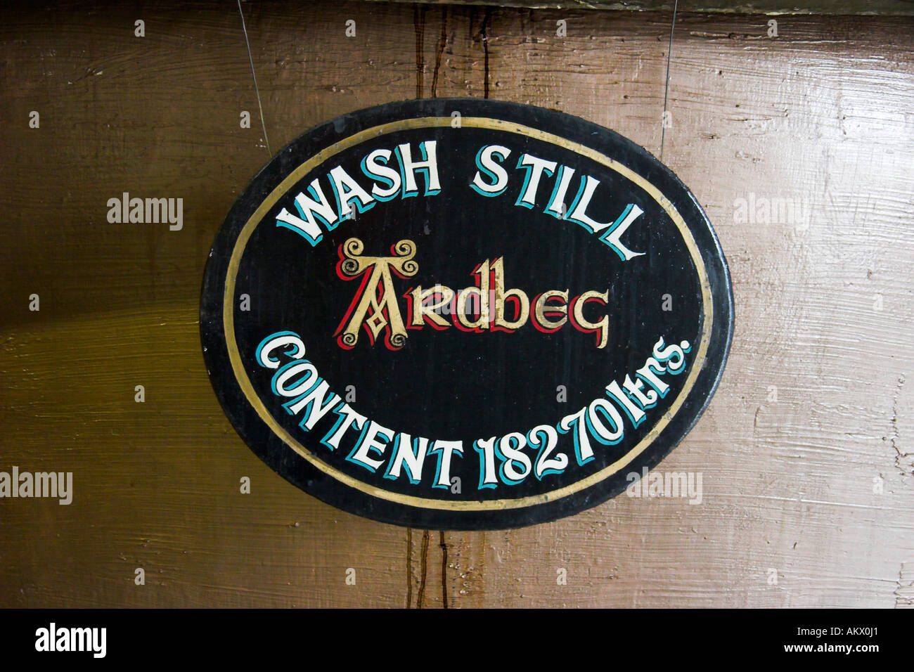 Sign at a wash still, showing his capacity, Ardbeg distillery, Isle of Islay, Scotland. - Stock Image