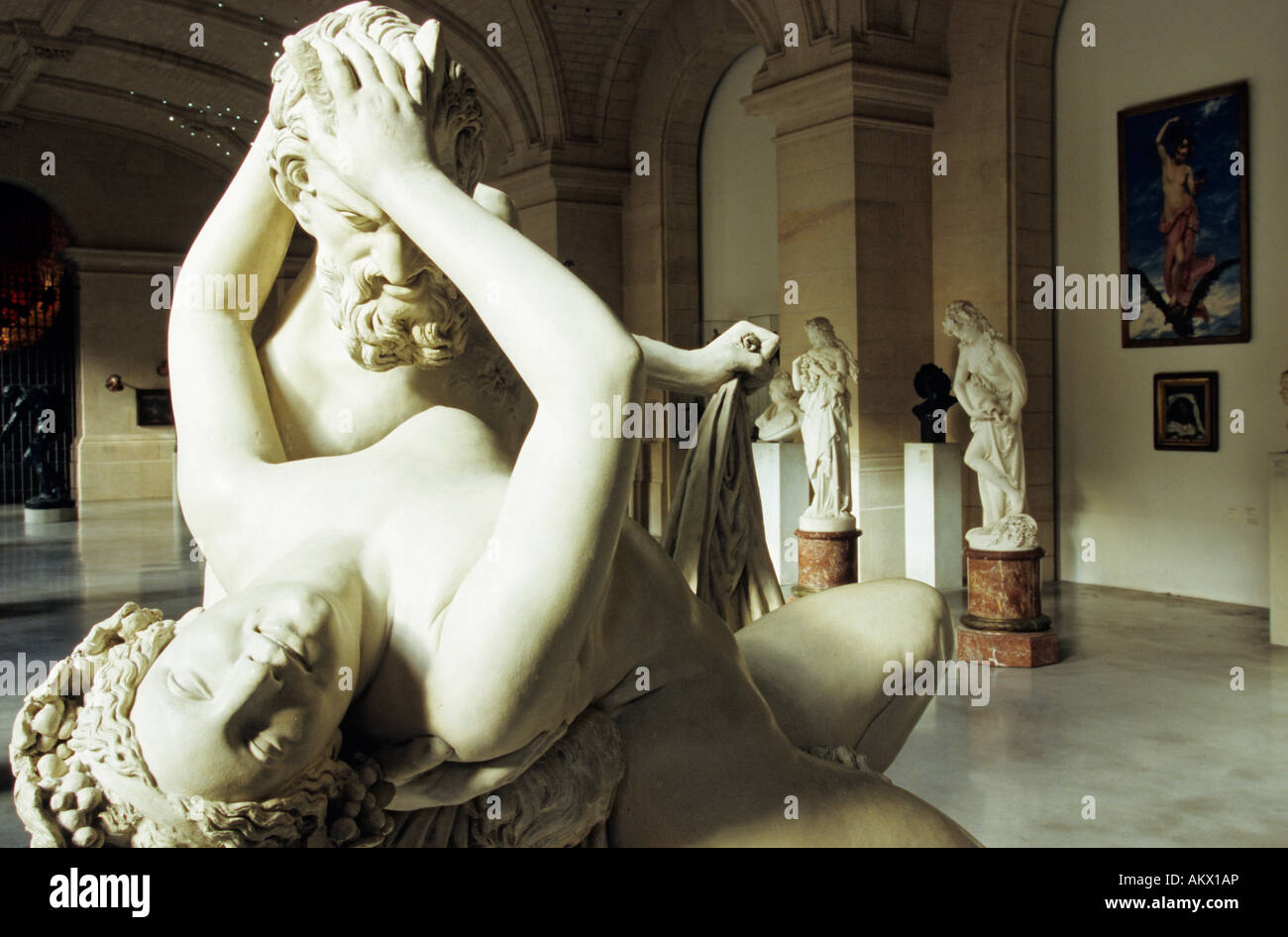 France, Nord, Lille, marble sculpture by James Pradier depicting Satyr and Bacchante Palais des Beaux Arts Stock Photo