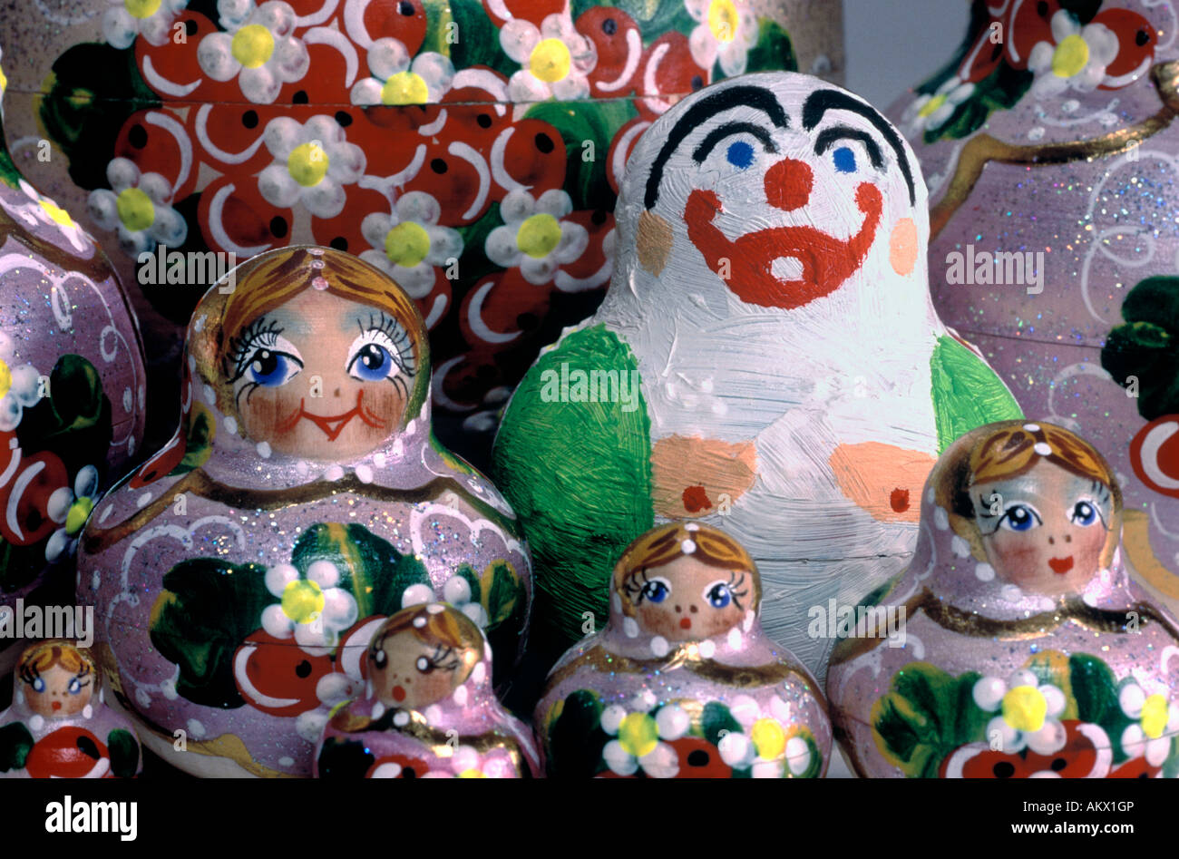 Russian Dolls with a Deviant. Grouping, close-up. - Stock Image
