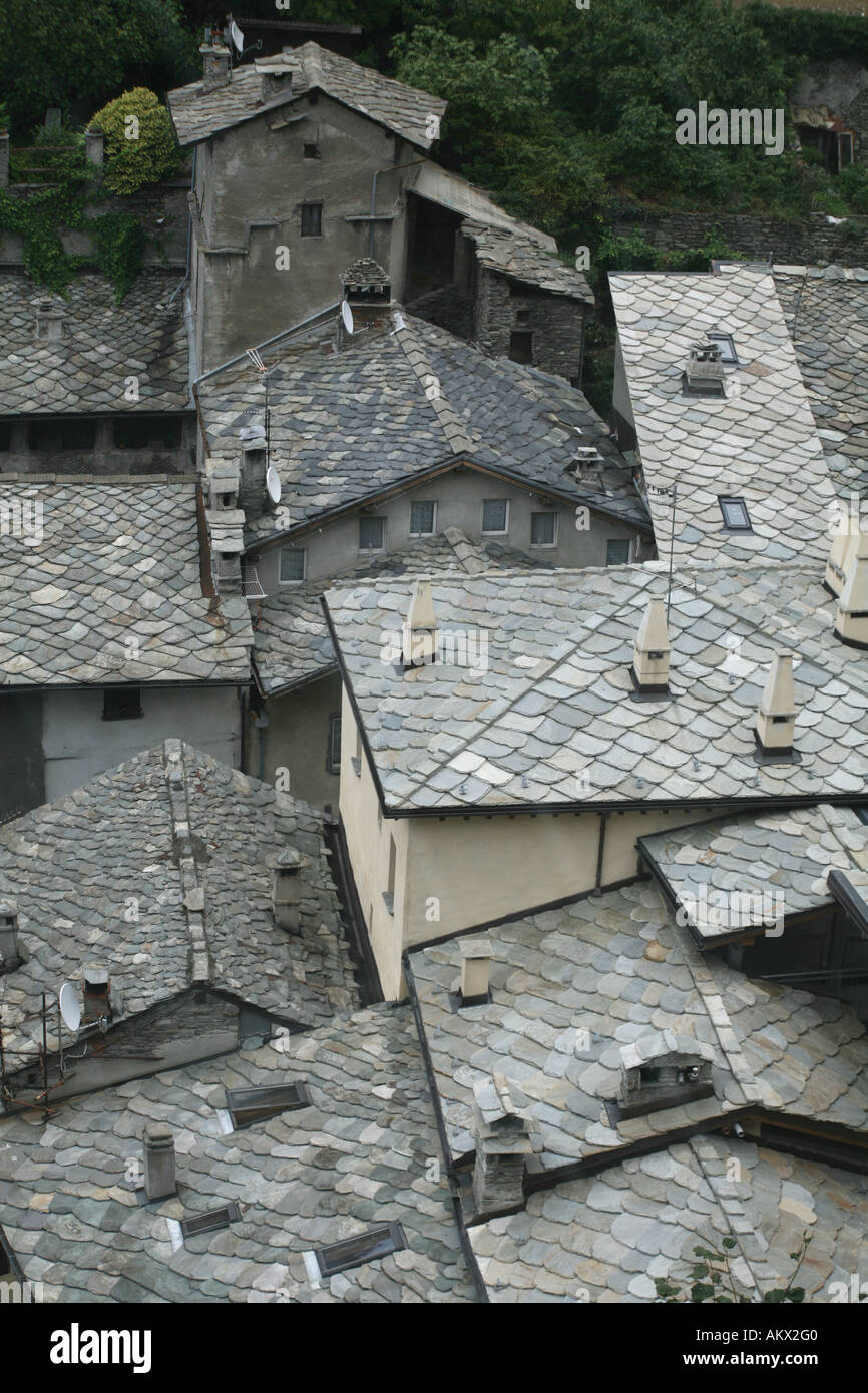 The slated roofs of Burgo di Bard, Aosta valley, Italy - Stock Image