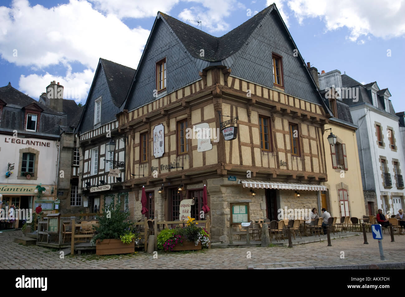 Half Timbered Houses Bars And Cobbled Streets St Goustan Port Du0027Auray  Brittany France