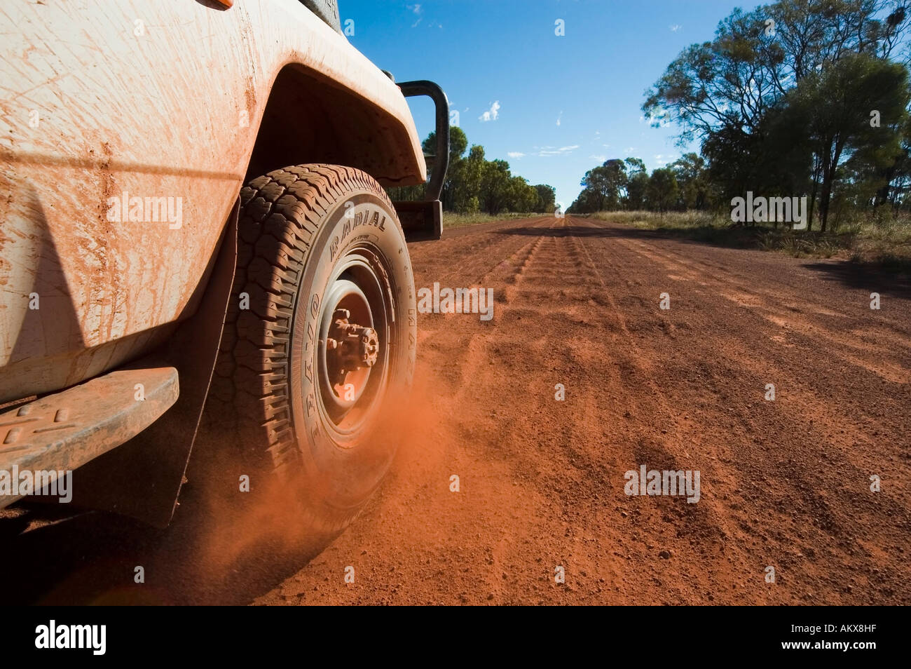 Offroad vehicle on red track, Australia - Stock Image