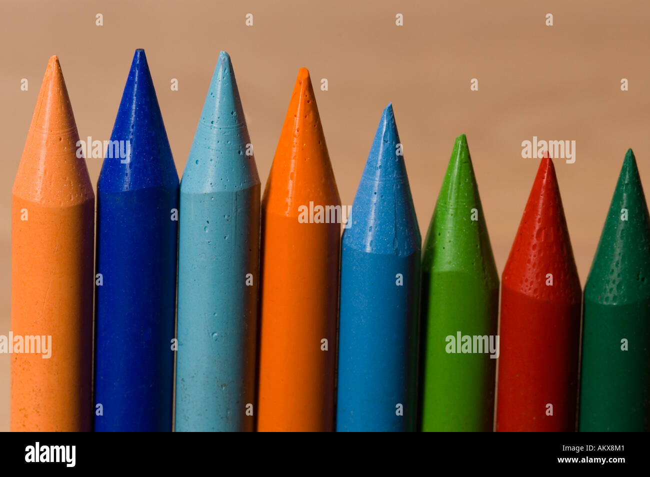Colorful wax crayon - Stock Image