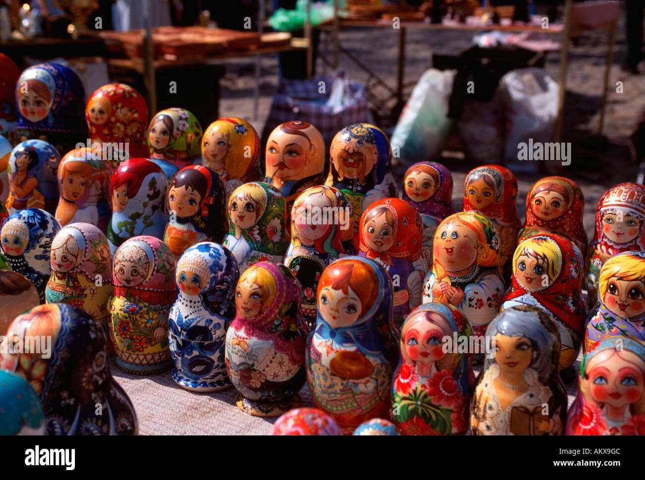 Matroschka, typical russian wood dolls, Kiev, Ukrainia Stock Photo