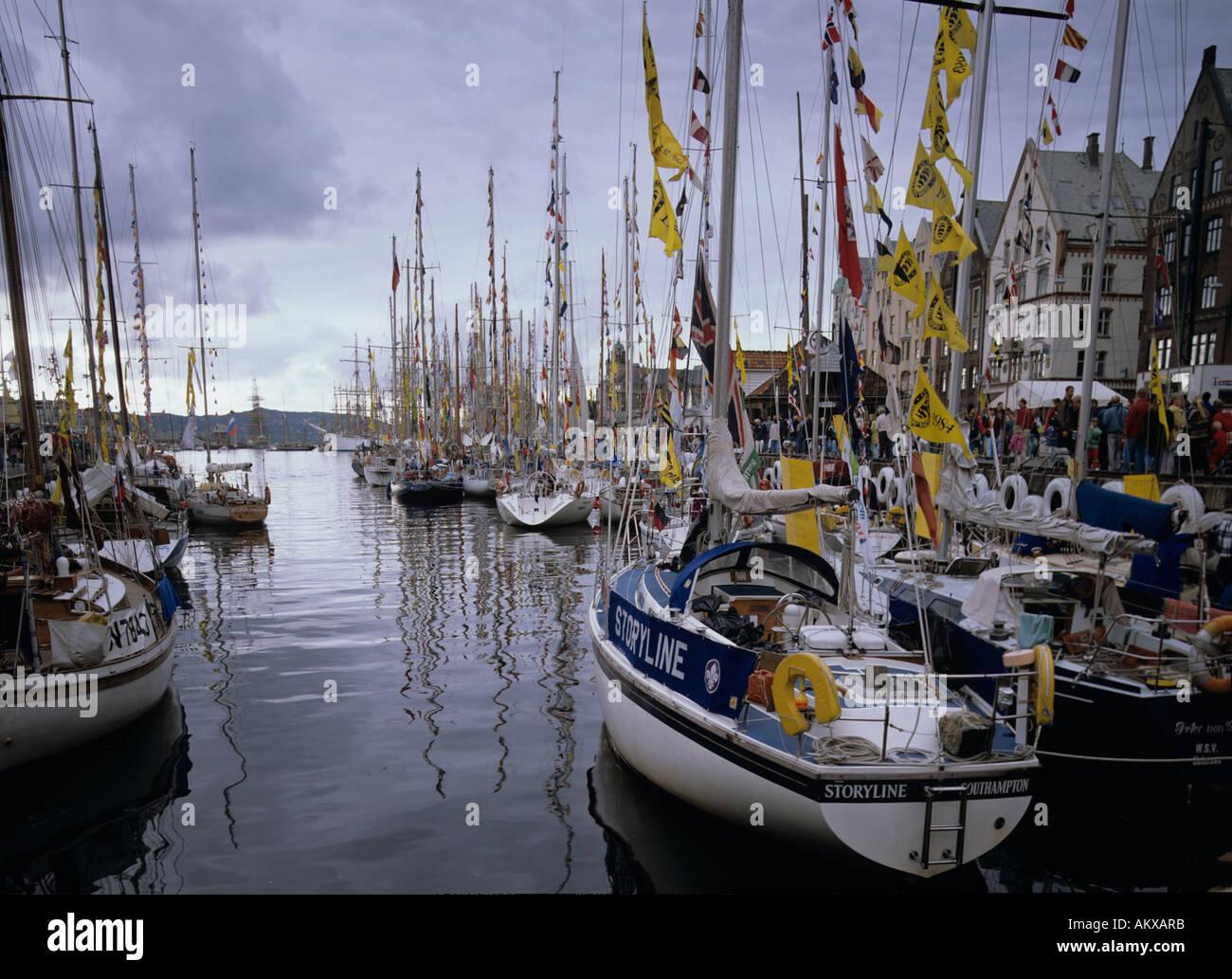 Tall Ships Race, Bergen harbour, Vågen, Norway - Stock Image