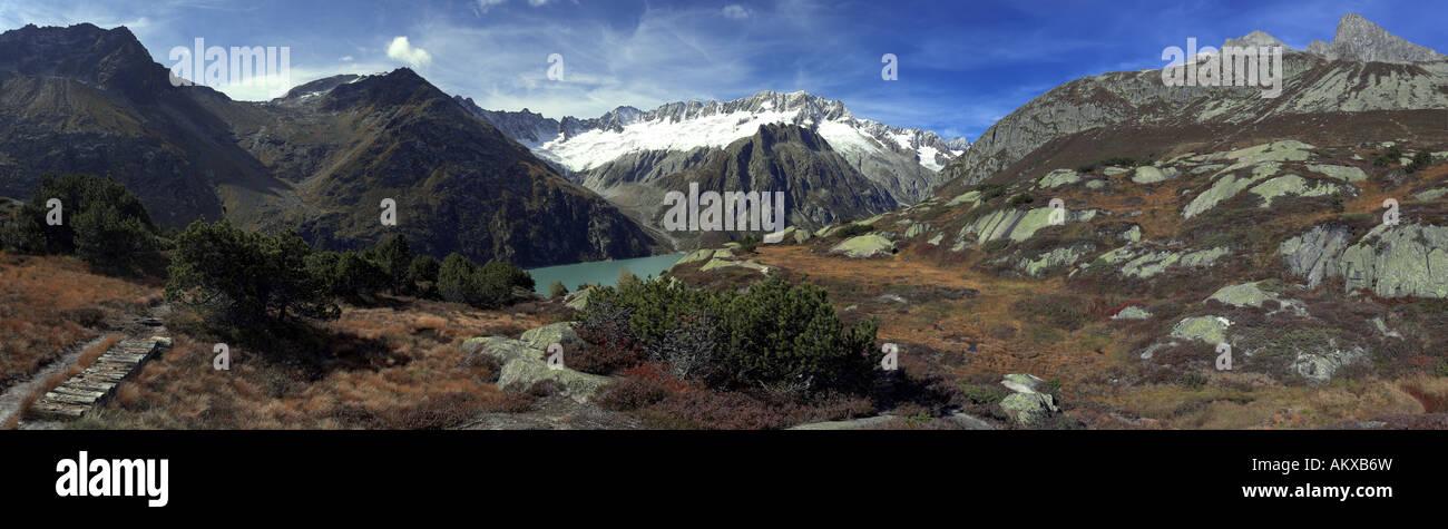 Panorama from the Hochmoor Goescheneralp, Uri, Switzerland Stock Photo