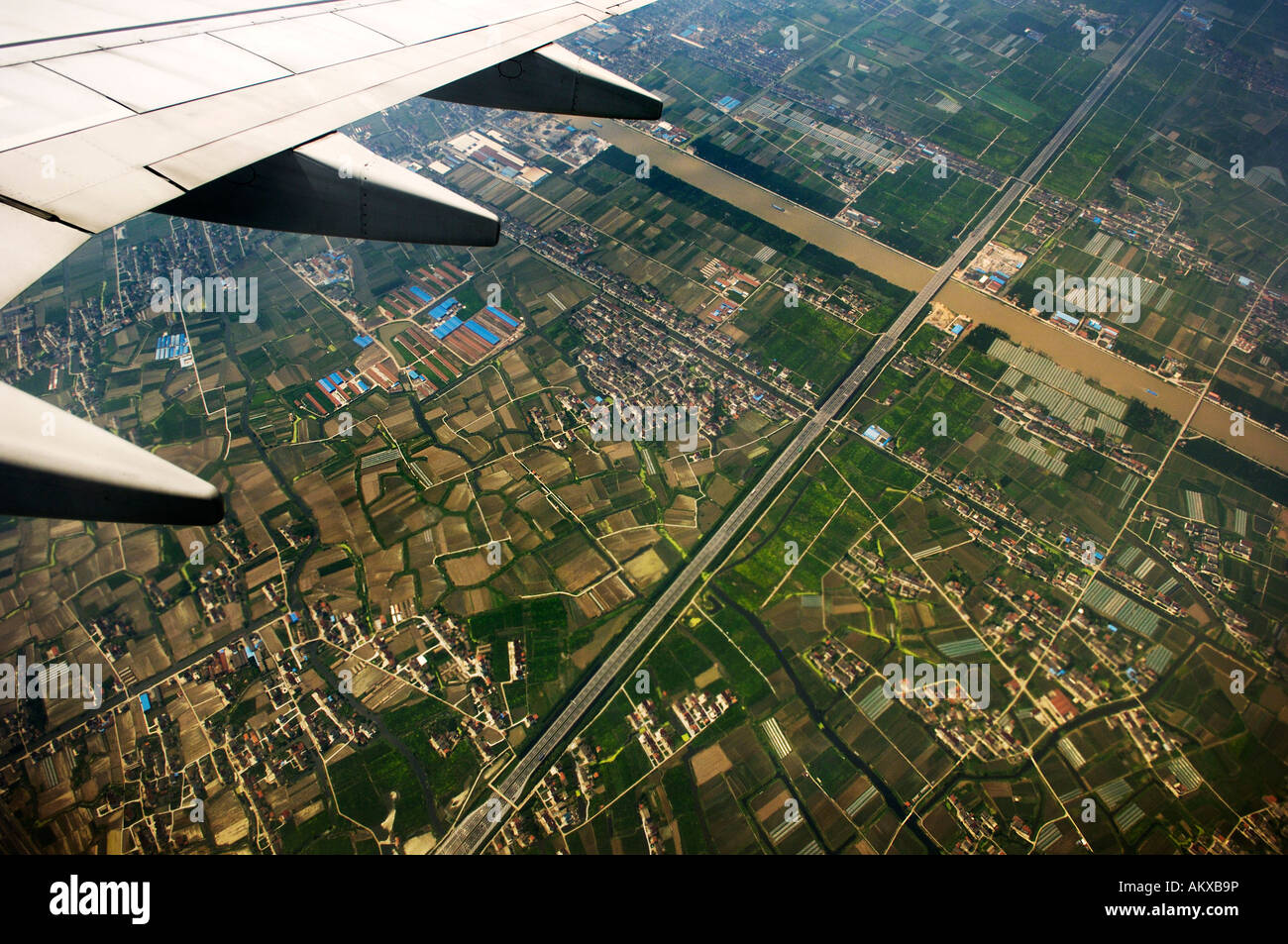 China, view from an airplane, near Shanghai, China - Stock Image