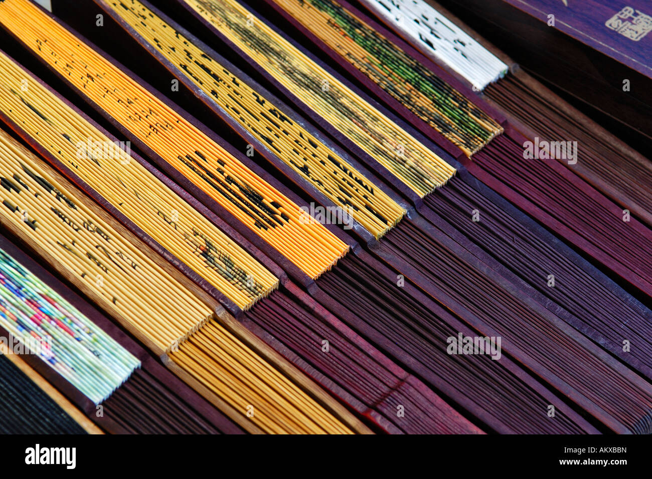 Fans at a stand, Longhua Temple, Shanghia, China - Stock Image