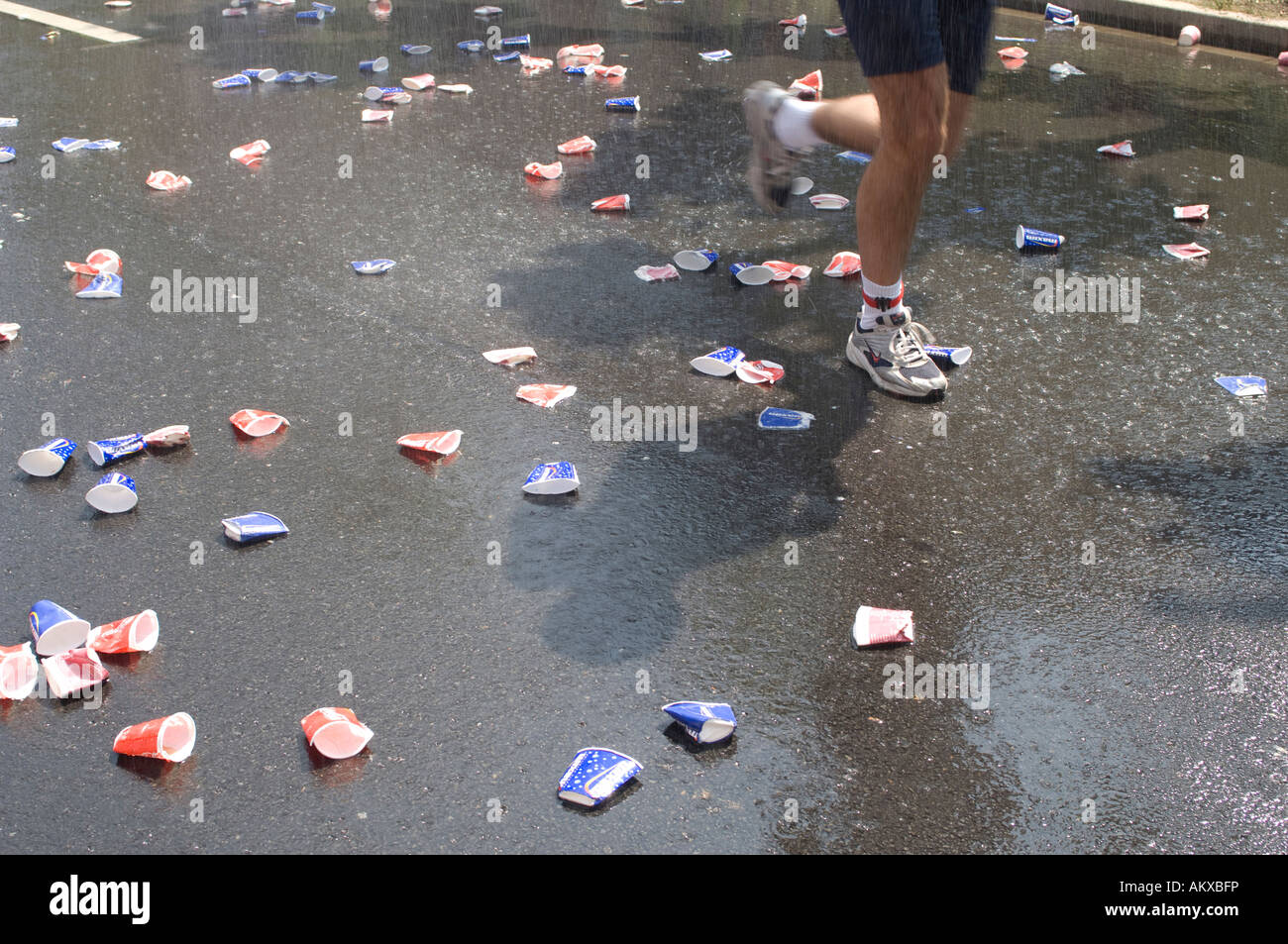 Delayed Marathon runner - Stock Image