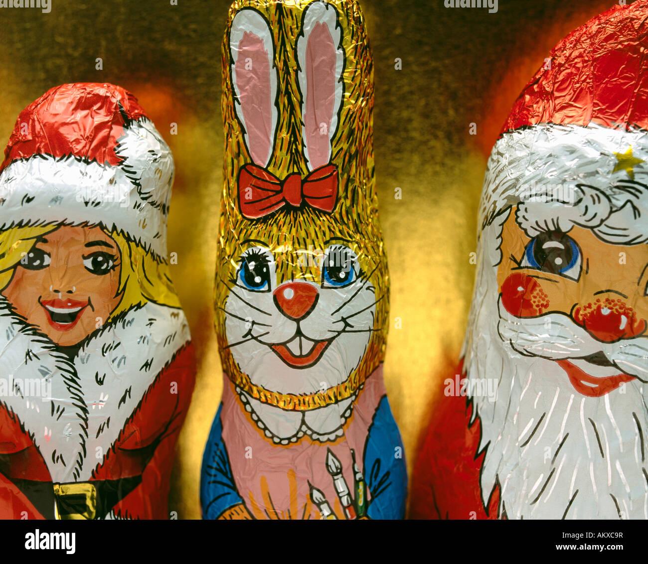 Chocolate female Santa Claus, Easter Bunny Stock Photo