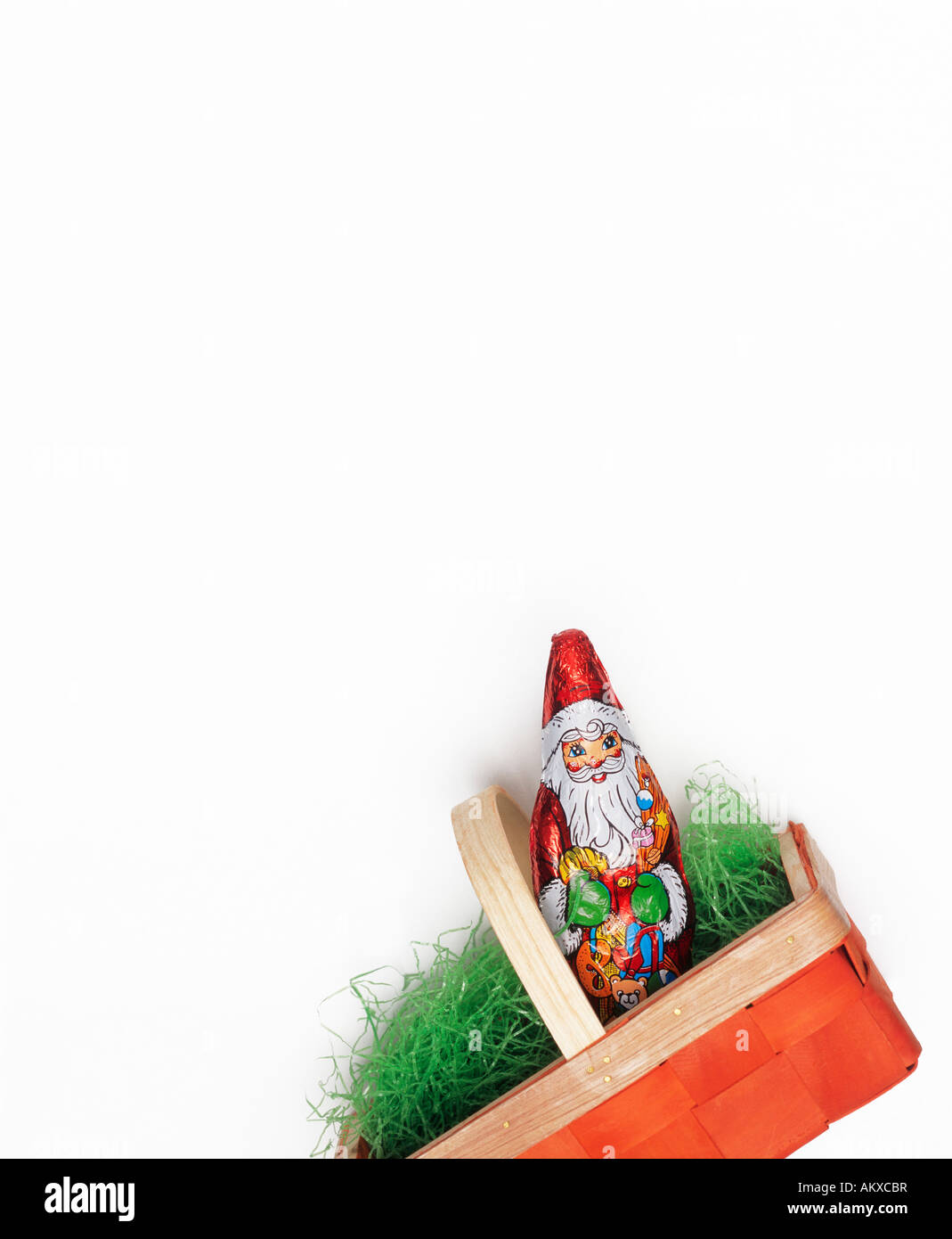Chocolate Santa Claus in easter bag Stock Photo