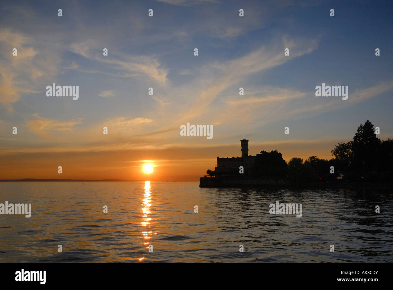 Montfort castle in the dusk - Langenargen, Baden Wuertemberg, Germany, Europe. - Stock Image