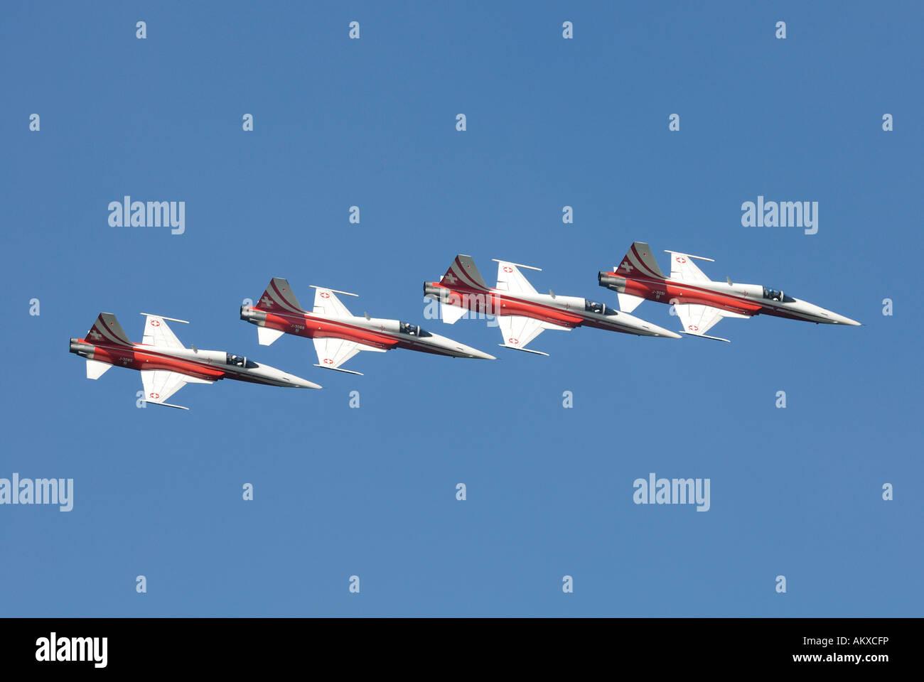 Formation flight with the aerobatic team Patrouille Suisse - Dittingen, Switzerland, Europe. - Stock Image