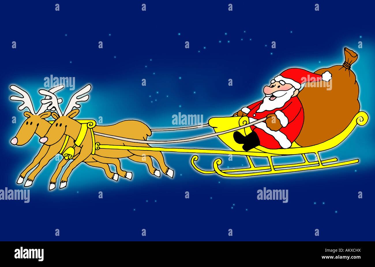 santa claus sitting in his sleigh flying with reindeer - Santa With Reindeer