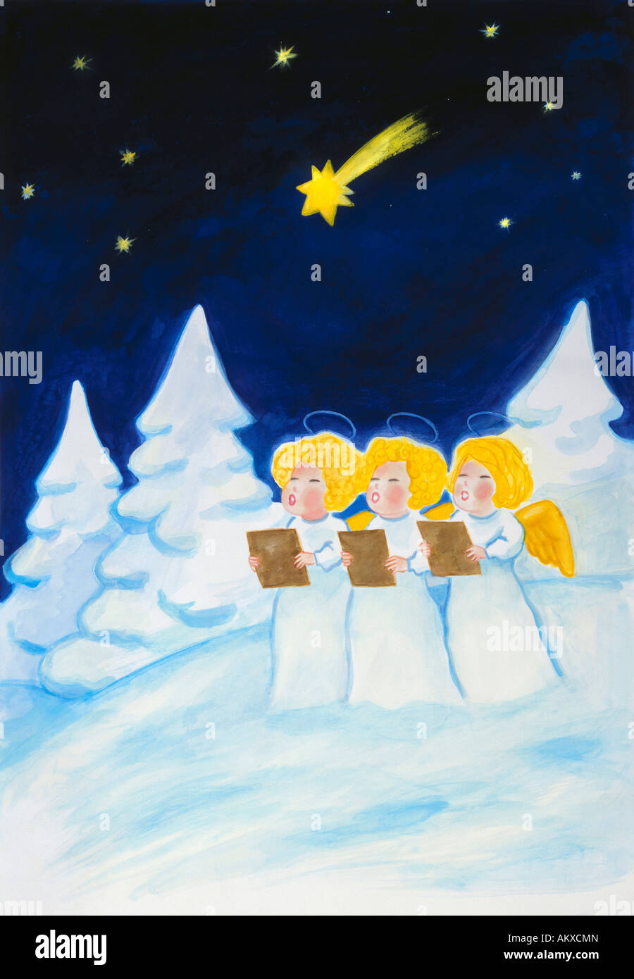 Angels' choir in a snowy forest, illustration - Stock Image
