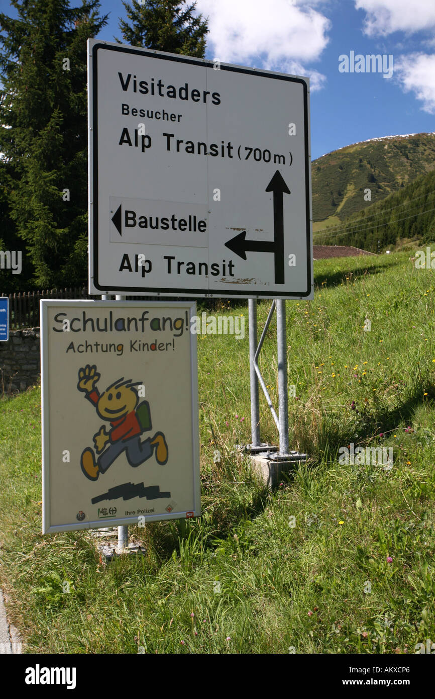 Description of the construction to the Porta Alpina, the underground train stop in the Gotthard base tunnel, Sedrun, Grisons, S - Stock Image