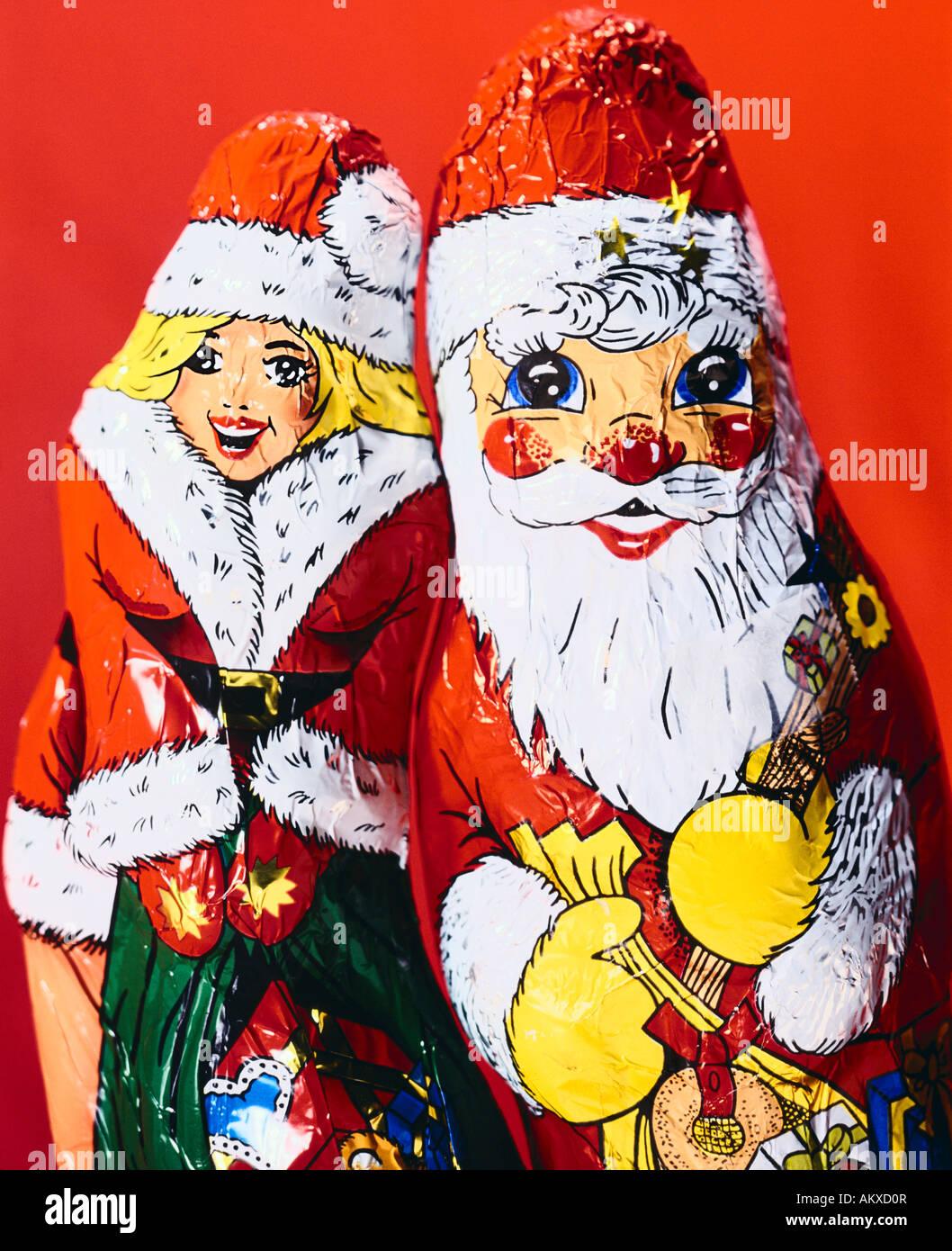 Chocolate Santa Claus and Santa Claus girl Stock Photo