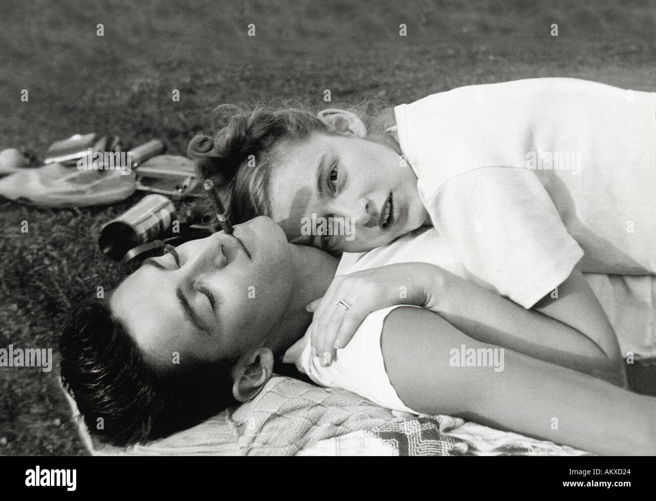 Retro young couple. - Stock Image