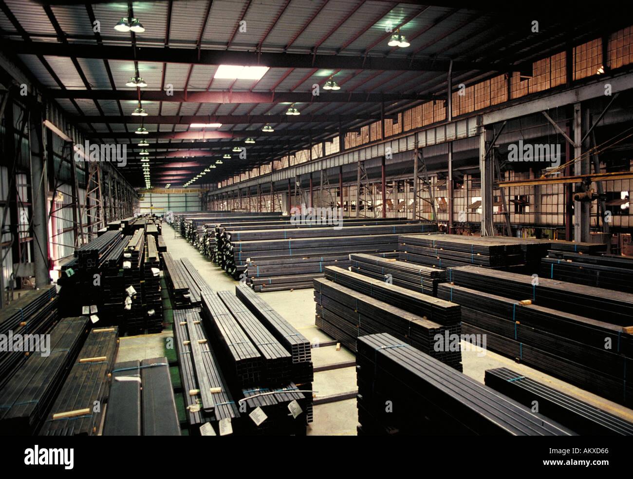 Tubular steel storage at steel fabrication plant Birmingham