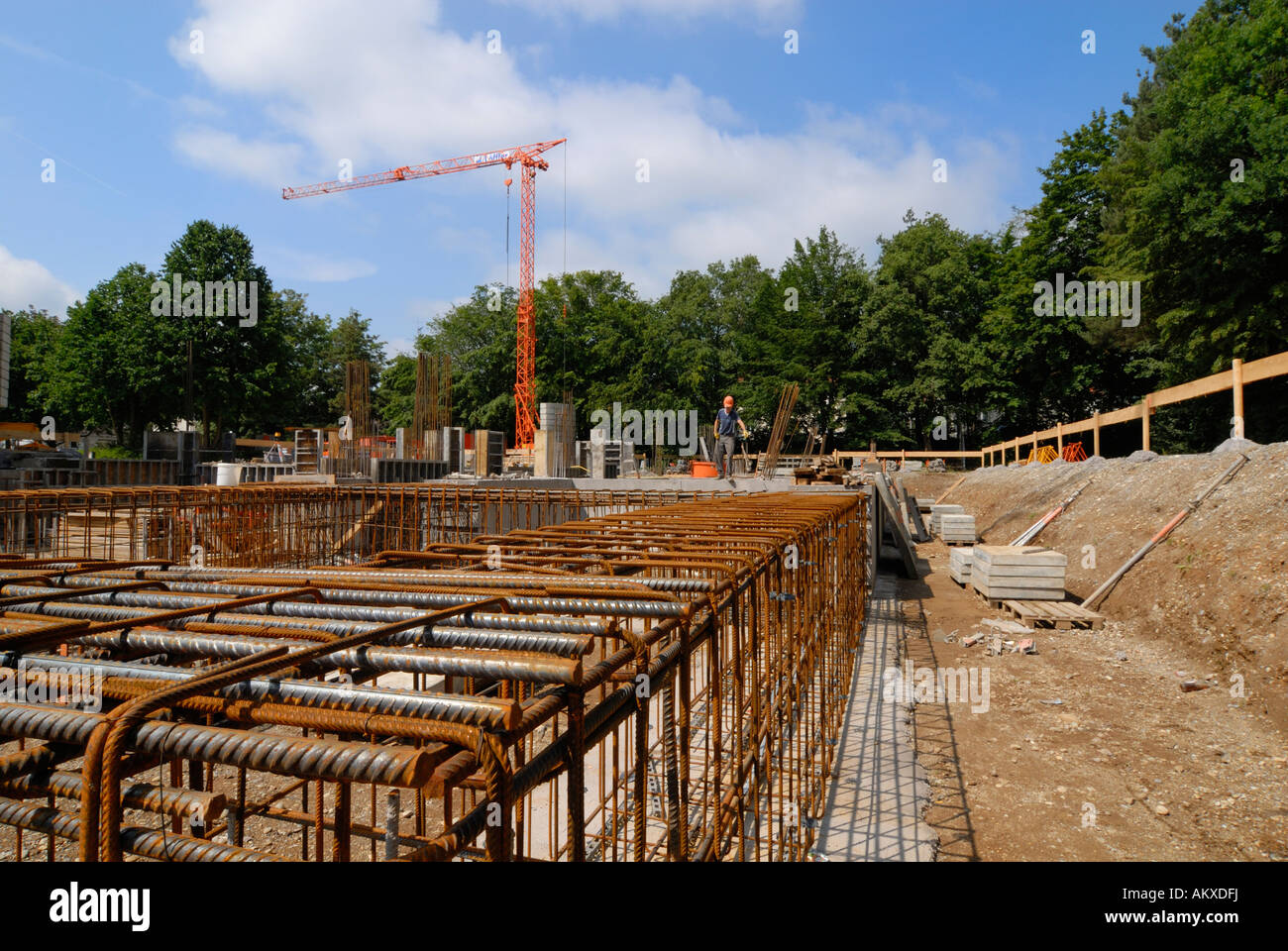 A tied rebar beam cage - Germany, Europe. - Stock Image