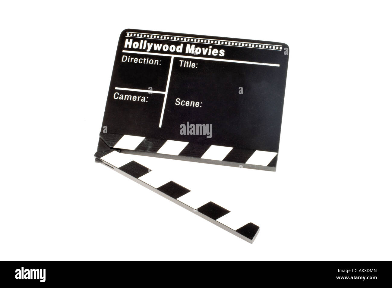 Movie Clapper Board on white background - Stock Image