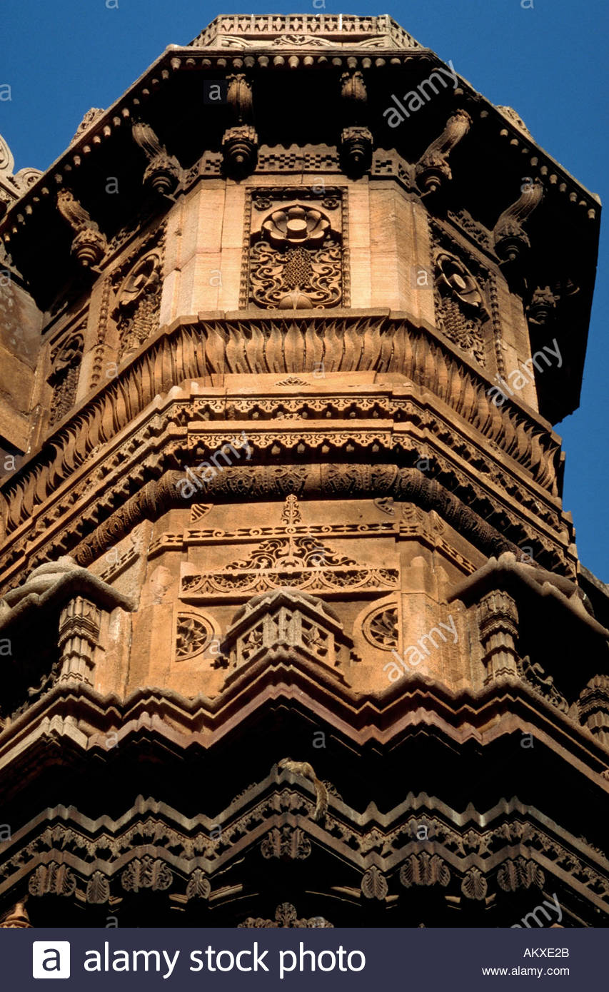 Detail of the exterior tower of the Rani Rupvati mosque Ahmedabad India - Stock Image