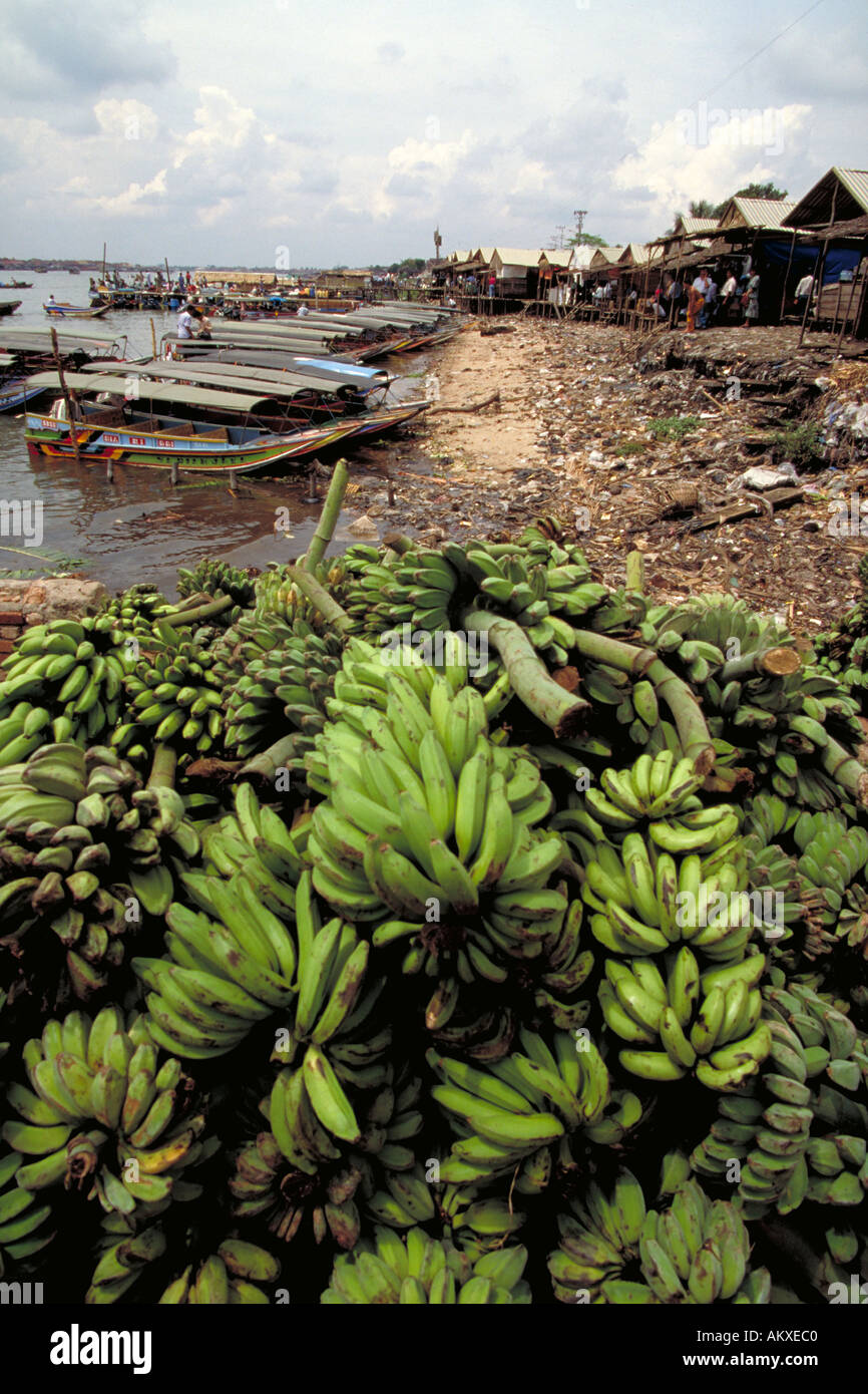 Along Musi River near Palembang Indonesia farmers stack their bananas for sale Water taxis along river bank transport pass - Stock Image