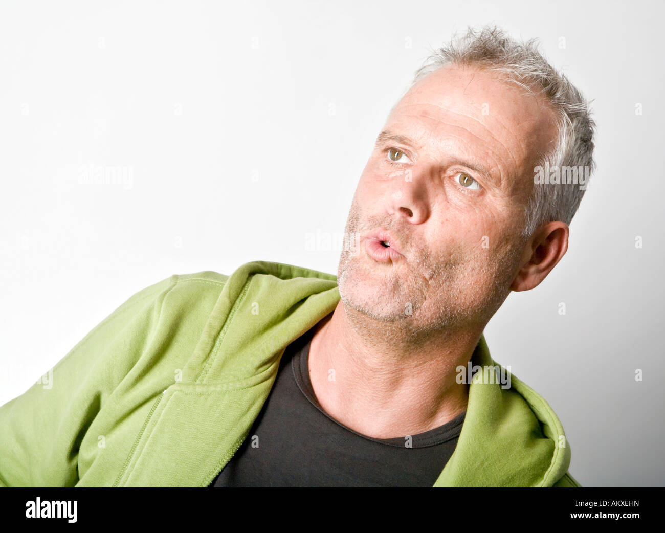 Portrait of a stunned man - Stock Image