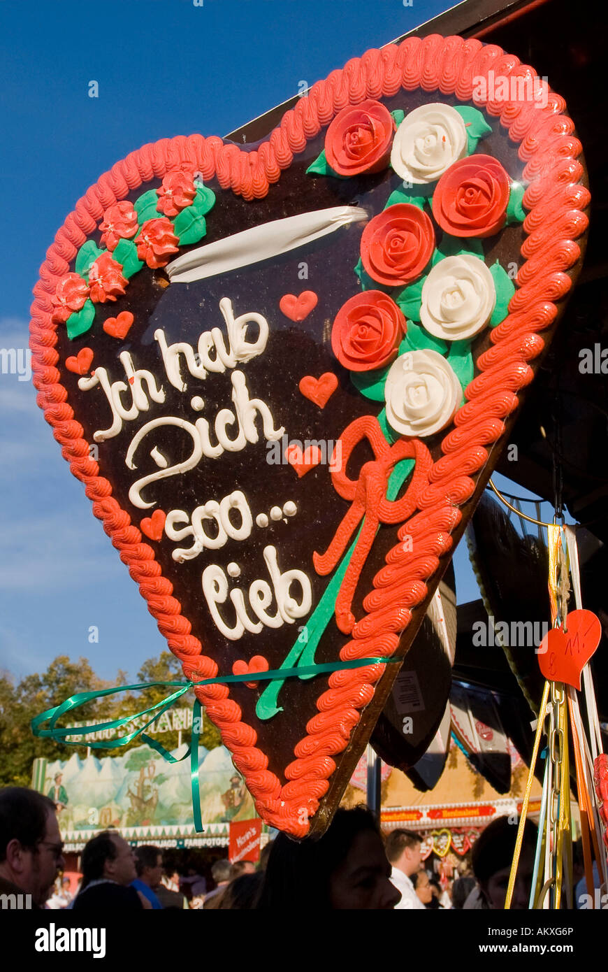 Hearts made of Gingerbread, Octoberfest, Munich, Bavaria, Germany - Stock Image