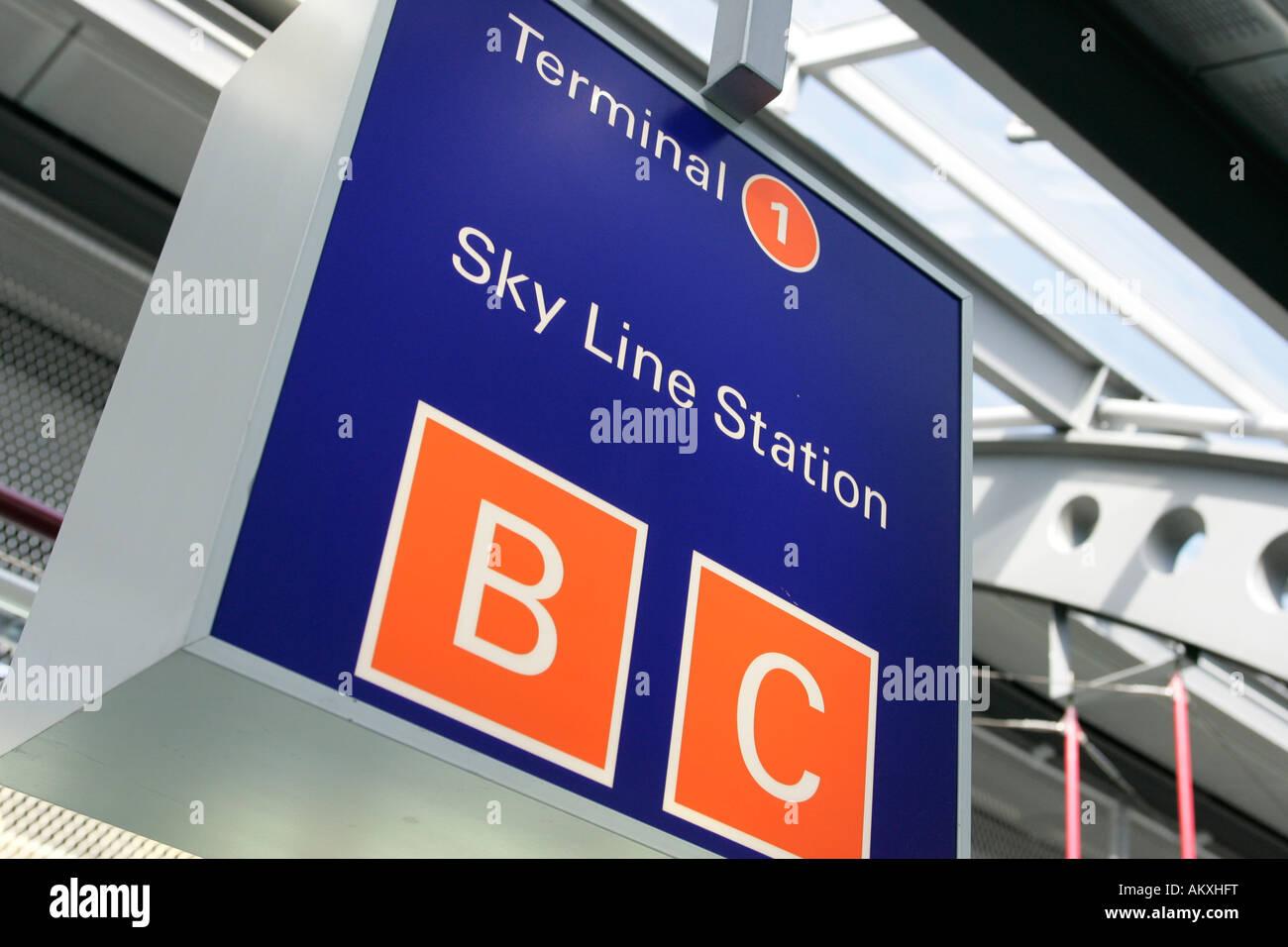 Sign SKY LINE STATION Frankfurter Flughafen, Frankfurt, Hesse, Germany. - Stock Image
