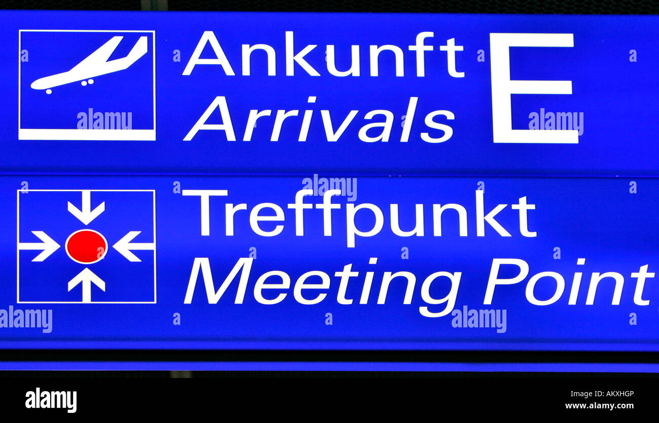 Symbol MEETING POINT and ARRIVALS, Frankfurt airport, Frankfurt, Hessen, Germany. - Stock Image