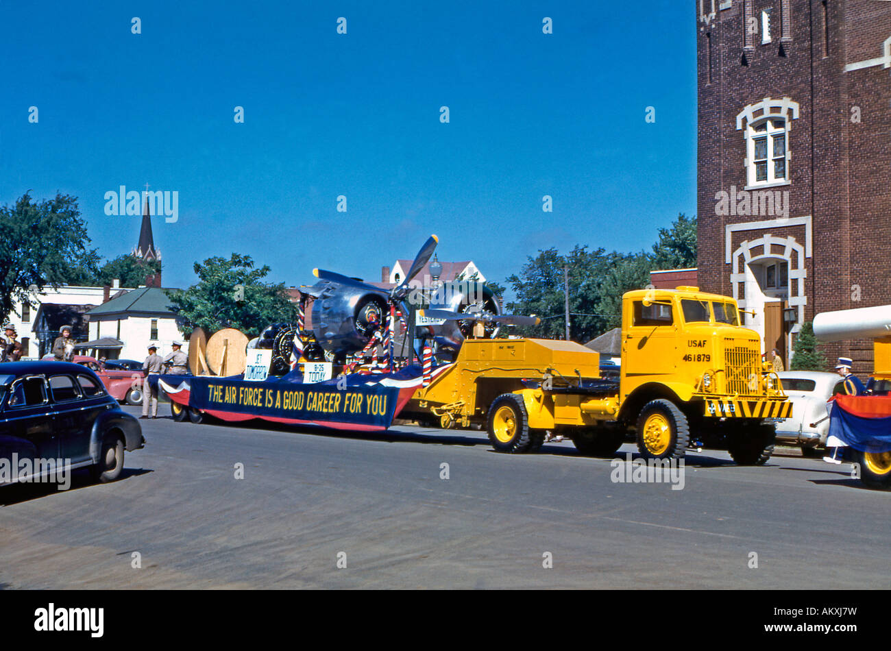Flatbed truck of US Airforce in a recruitment drive at a parade Enid Oklahoma USA 1950 - Stock Image