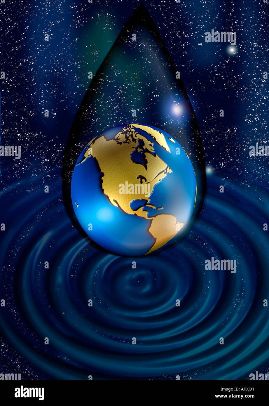 world earth globe planet with space cosmic background with stars earth in bubble tear with water ripple  beneath - Stock Image