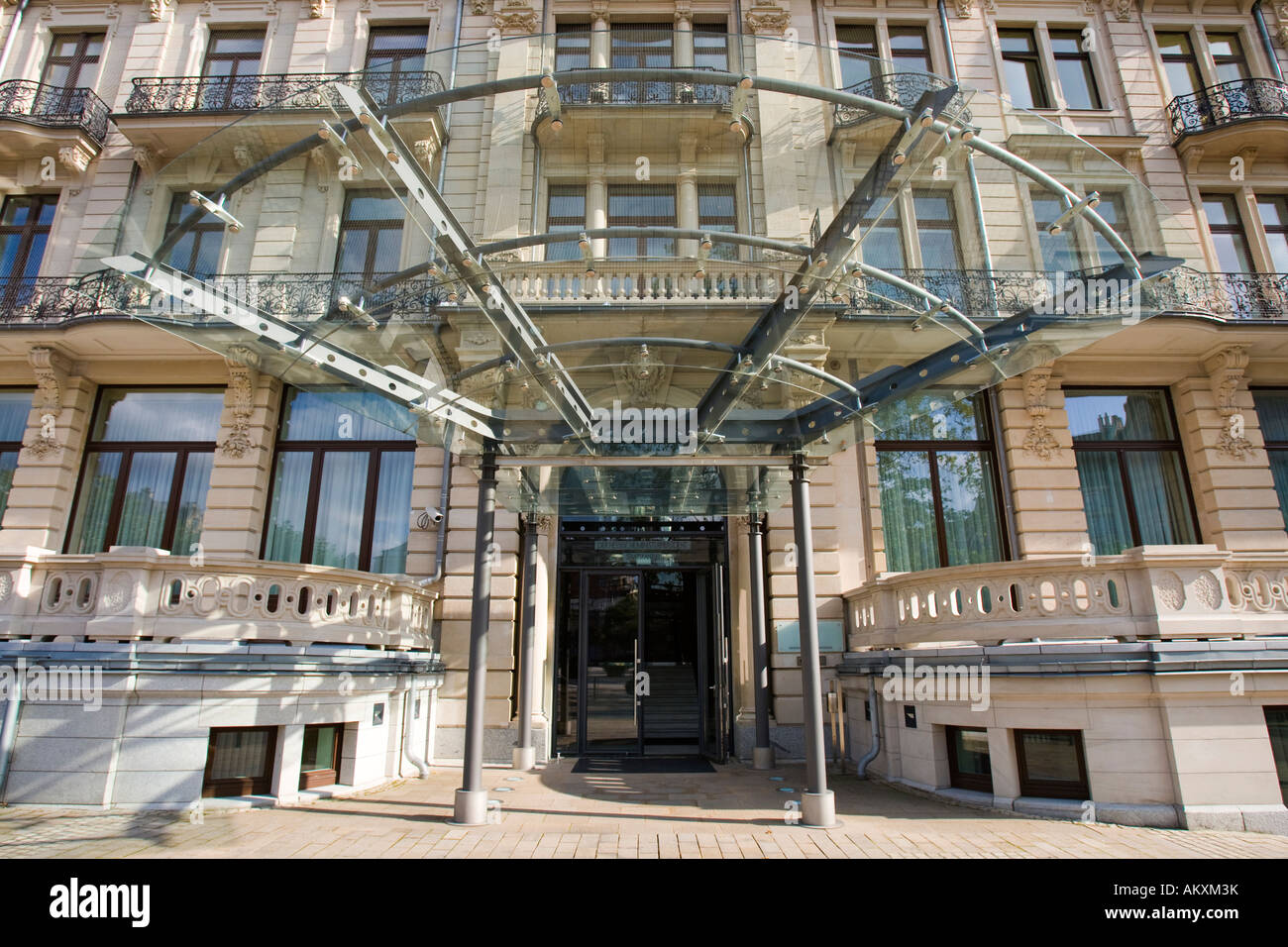 The new Hessian state chancellery, (formerly the hotel Rose), Wiesbaden, Hessen, Germany. Stock Photo