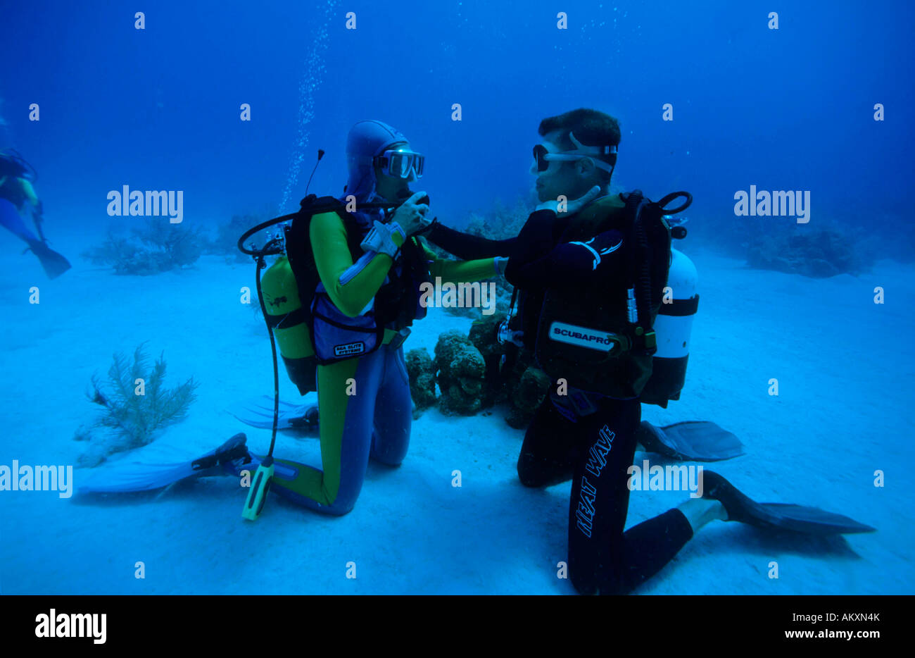 Diving teachers and pupils train the respiration, the Caribbean. - Stock Image