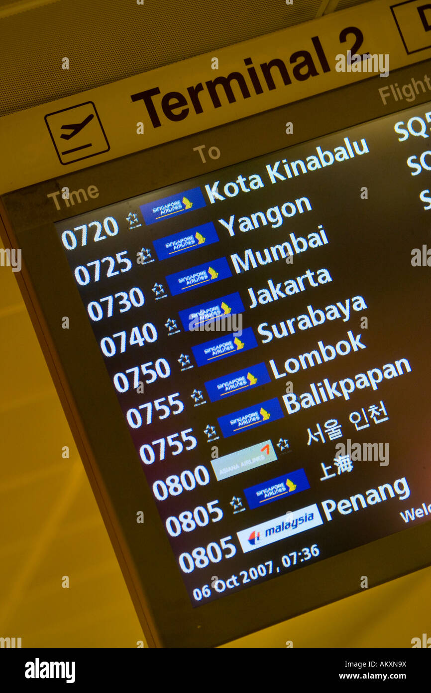 Announcement board in the airport of Changi, Singapore, Indonesia. - Stock Image