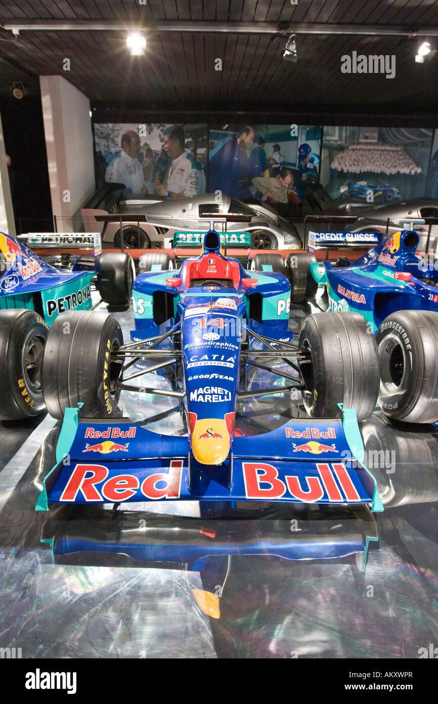Formula One race cars in the Verkehrshaus der Schweiz, Lucerne, Canton Lucerne, Switzerland - Stock Image