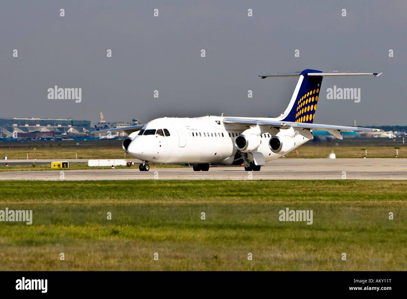 Eurowings BAe 146-300, Startbahn 18 West, Airport Frankfurt, Hesse, Germany - Stock Image