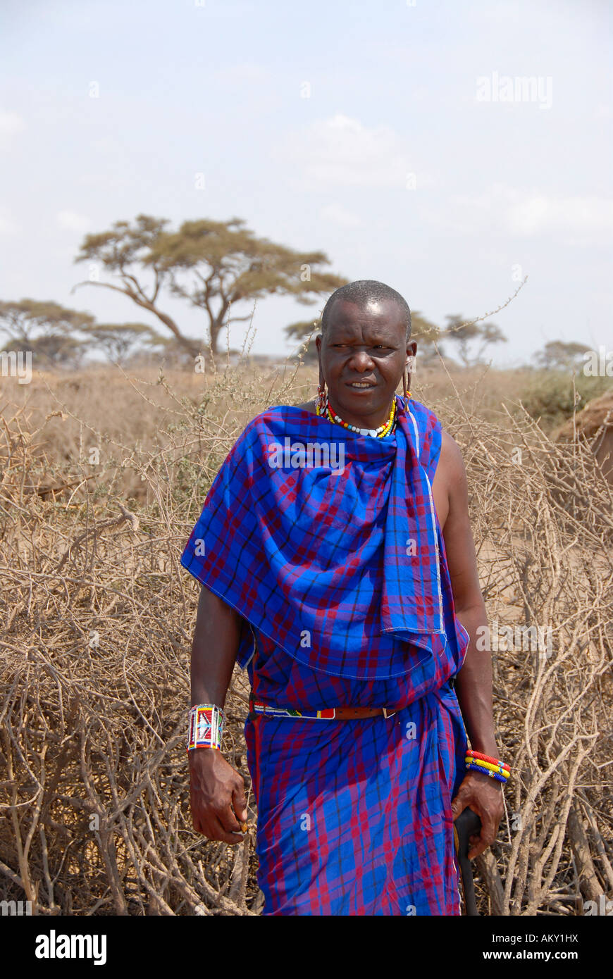 Masai man dressed in a blue cape stands in the kraal Amboseli National Park Kenya - Stock Image