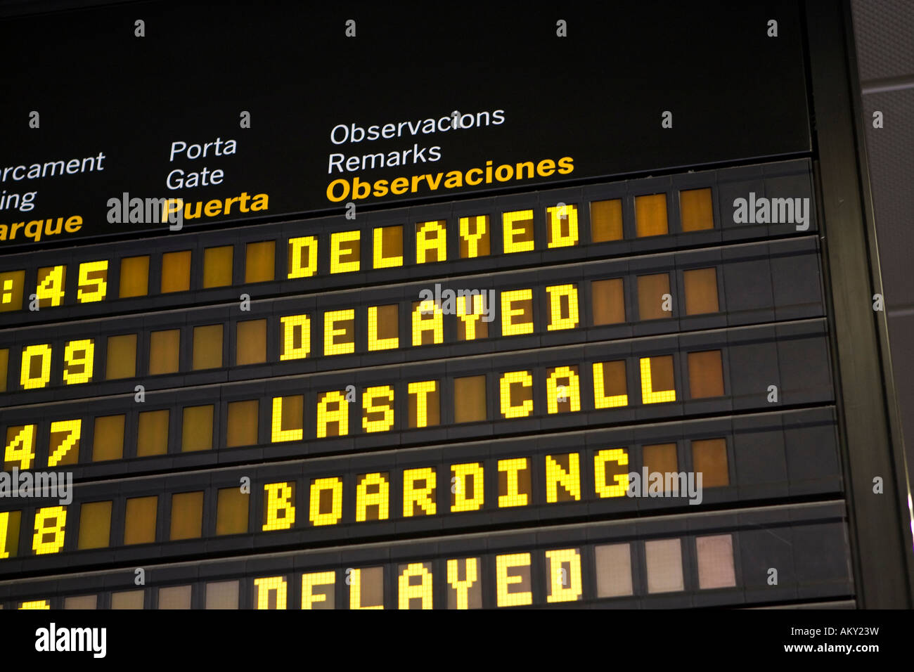 Information of flight delays in english language, Ibiza, Baleares, Spain - Stock Image