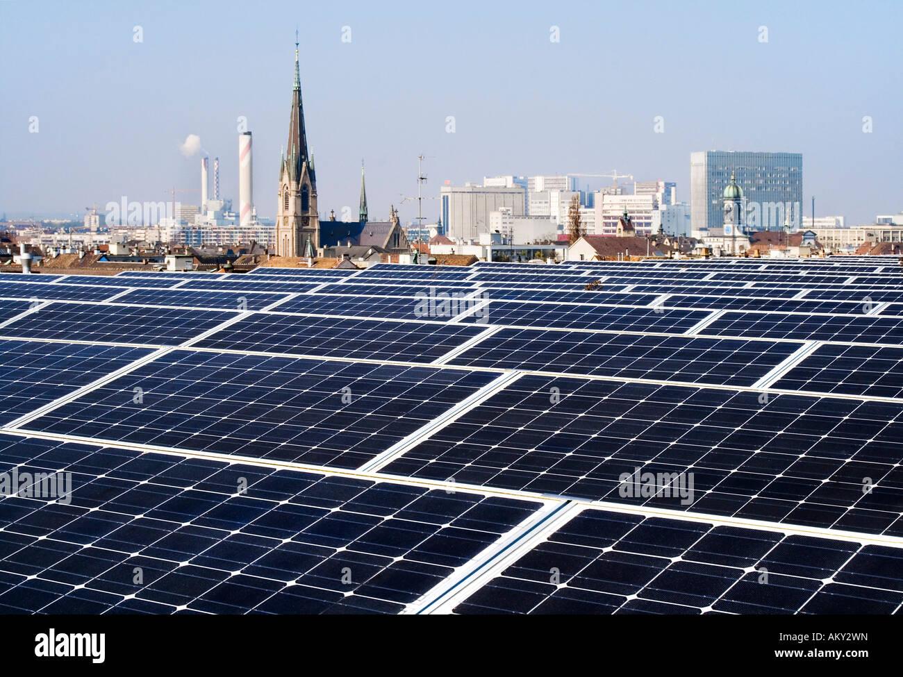 Solar panels, trade fair, Basel, Switzerland - Stock Image