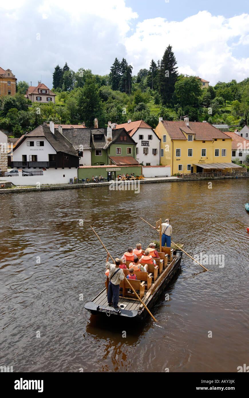 Cesky Krumlov Krumau at the Moldau Vltava Bohemian Forest Sumava Czech Republik in the Oldt town center canoes on - Stock Image
