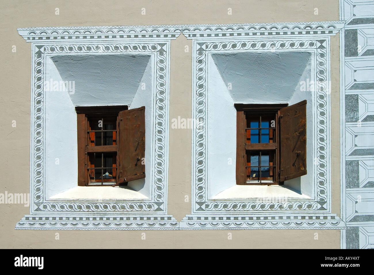 Windows of a typical Engadine house, Engadin, Switzerland Stock Photo